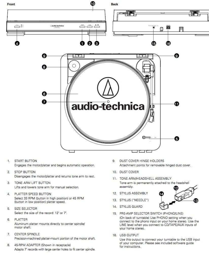 Audio Technica AT-LP60USB Gramofon